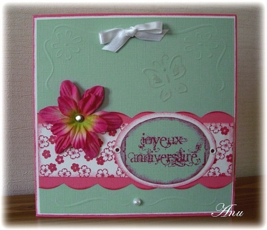 carte papillon bleu rose